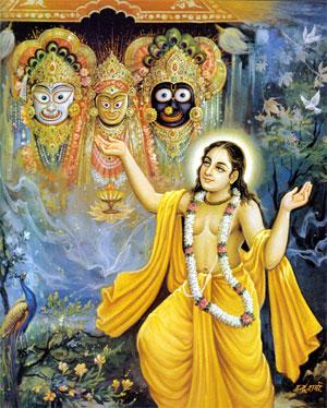 Le Seigneur Chaitanya priant à Jagannatha (Krishna)