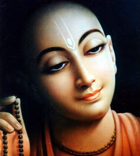 Sri Chaitanya Mahaprabhu chantant les Saints Noms sur un chapelet