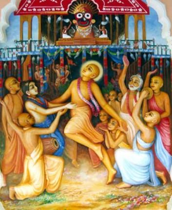 Le Seigneur Chaitanya dansant pendant le Ratha Yatra à Jagannatha Puri