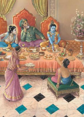 Nanda Maharaja entouré de ses deux fils Krishna et Balarama. Mère Yashoda s'apprête à servir Nanda Kumara invité à leur table.(Brihad-Bhagavatamrita)