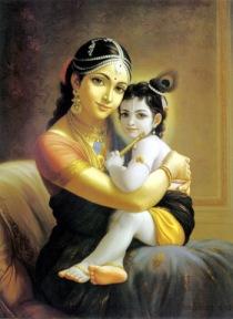Krishna dans les bras de Sa mère Yashoda